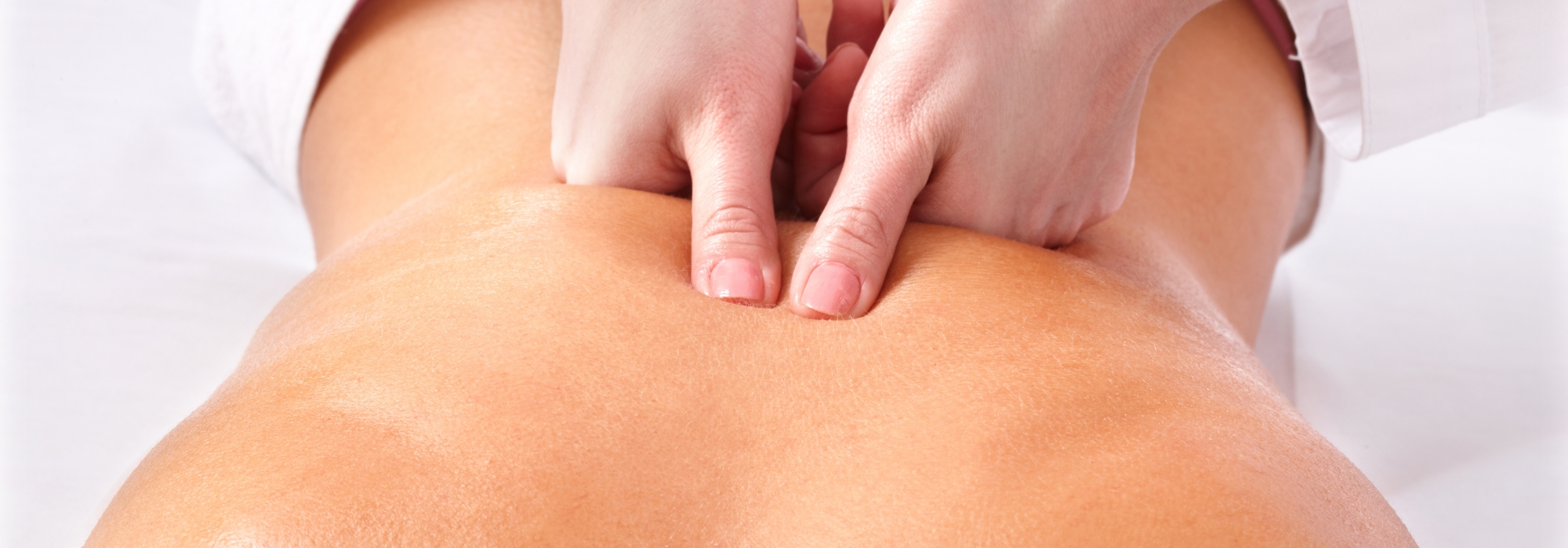 Massage of female back. Spa.